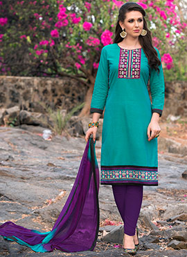 Aqua Blue Cotton Churidar Suit
