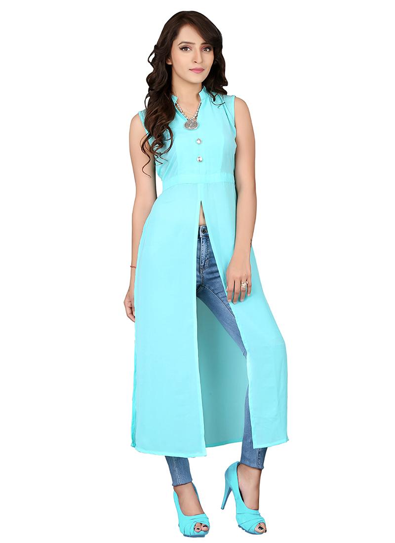 Buy Aqua Blue Cotton Kurti long-kurti Online Shopping KRSKE45691