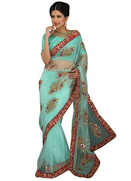 Aqua Blue Embellished Net Saree