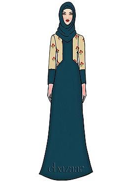 Aqua Blue Georgette Abaya