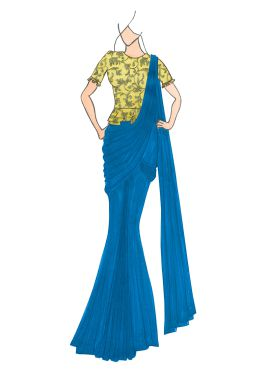 Aqua Blue Georgette Drape Saree with Gold Embroidered Blouse