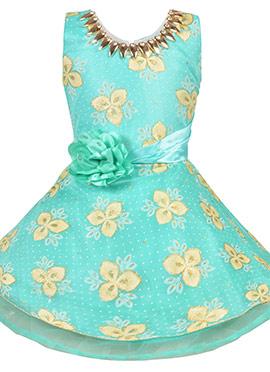 Aqua Blue Georgette Kids Dress