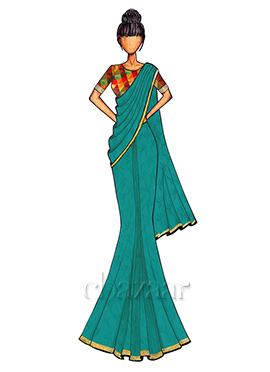 Aqua Blue Georgette Saree with a Multicolored Chanderi Silk Blouse