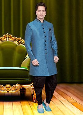 Aqua Blue Jute Achkan Sherwani