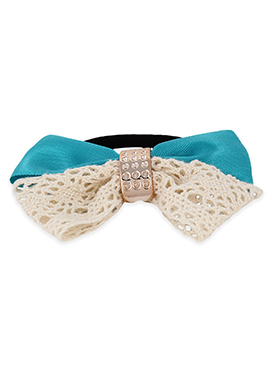 Aqua Blue N Cream Color Bow Style Rubber Band