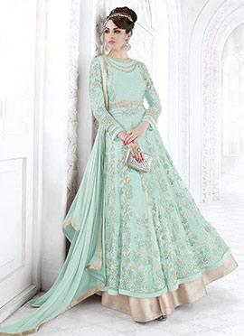Aqua Blue Net Abaya Style Anarkali Suit
