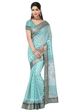 Aqua Blue Printed Saree