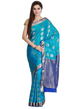 Aqua Blue Pure Mysore Silk Saree