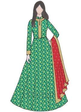 Aqua Green Abaya Style Anarkali Suit