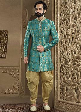 Aqua Green Art Benarasi Silk Indowestern Sherwani
