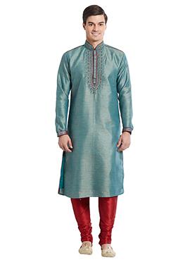 Aqua Green Art Bhagalpuri Silk Kurta Pyjama