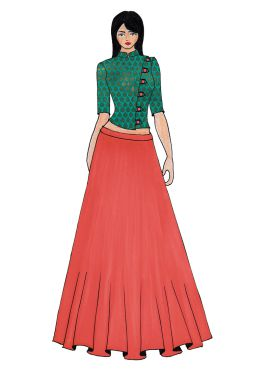 Aqua Green Art Raw Silk Crop Top N Coral Pink Skirt