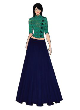 Aqua Green Art Raw Silk Crop Top N Navy Blue Skirt