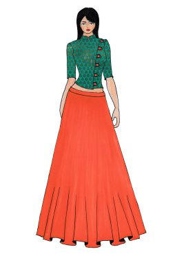 Aqua Green Art Raw Silk Crop Top N Peach Skirt