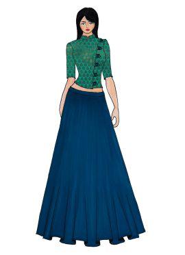 Aqua Green Art Raw Silk Crop Top N Teal Blue Skirt