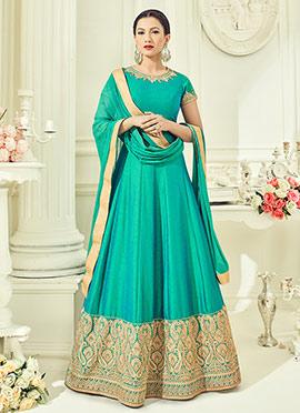 Gauhar Khan Aqua Green Abaya Style Anarkali Suit