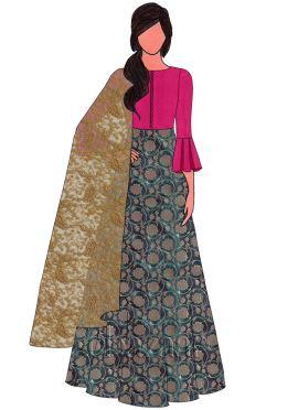 Aqua Green Art Silk Brocade Abaya Style Anarkali