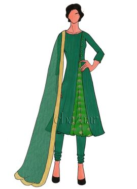 Aqua Green Art Silk Churidar Suit
