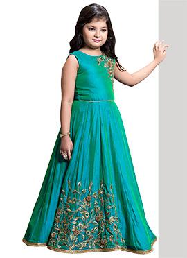 Aqua Green Art Silk Girls Gown
