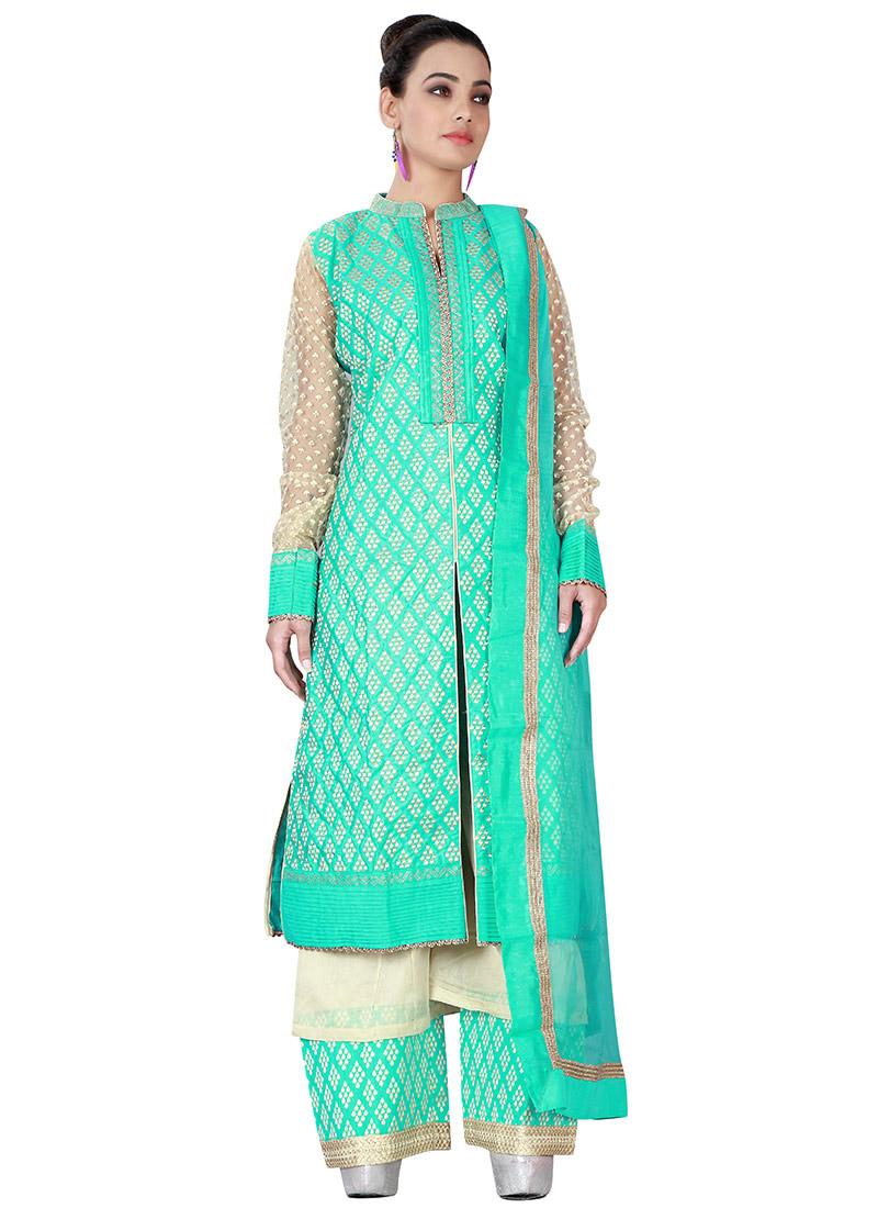 Buy Aqua Green Art Silk Palazzo Suit, Party, palazzo suit Online ...