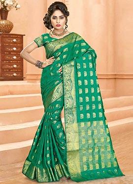 Aqua Green Art Tussar Silk Saree