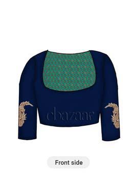 Aqua Green Brocade Yoke Style Blouse