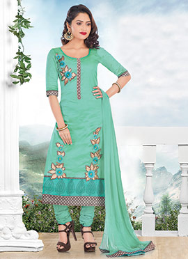 Aqua Green Chanderi Cotton Churidar Suit
