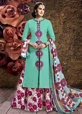 Aqua Green Cotton Long Choli A Line Lehenga