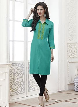 Aqua Green Cotton Rayon Kurti