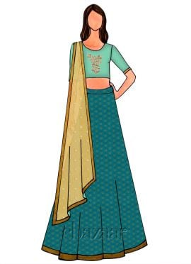 Aqua Green Embroidered Lehenga Set