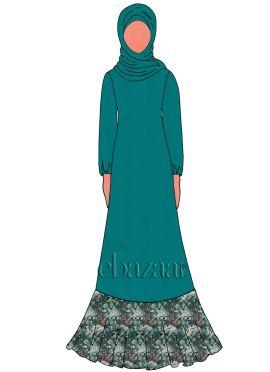 Aqua Green Georgette Abaya