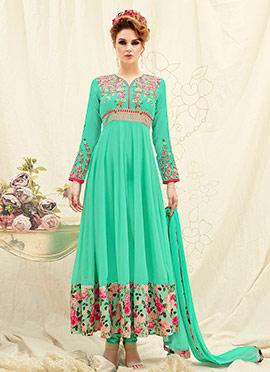 Aqua Green Georgette Abaya Style Anarkali Suit