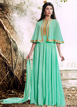 Aqua Green Georgette Cape Style Anarkali Suit
