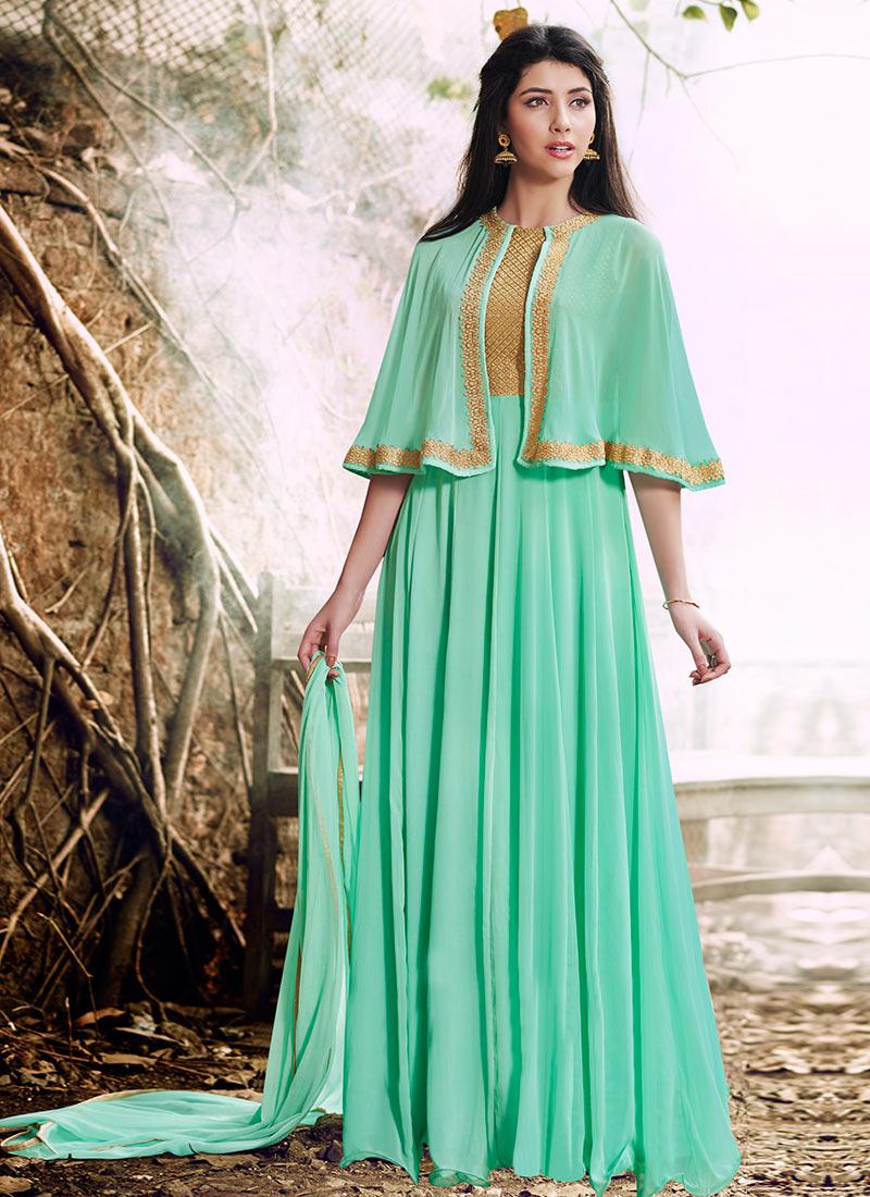 Buy Aqua Green Georgette Cape Style Anarkali Suit, Stones ...