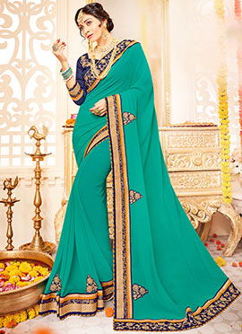 Aqua Green Georgette Saree