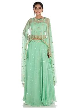 Aqua Green Georgette Skirt Set