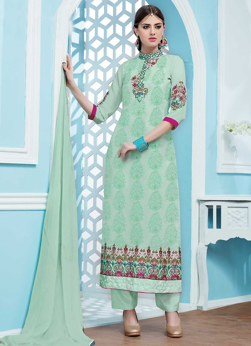 Buy Aqua Green Georgette Straight Pant Suit, Embroidered, straight ...