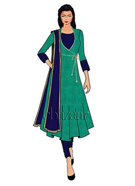 Aqua Green Mogra Silk Angrakha Anarkali Suit