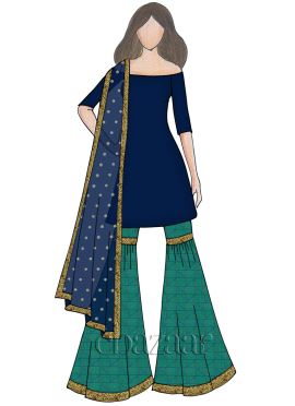 Aqua Green Mogra Silk Off Shoulder Sharara Suit