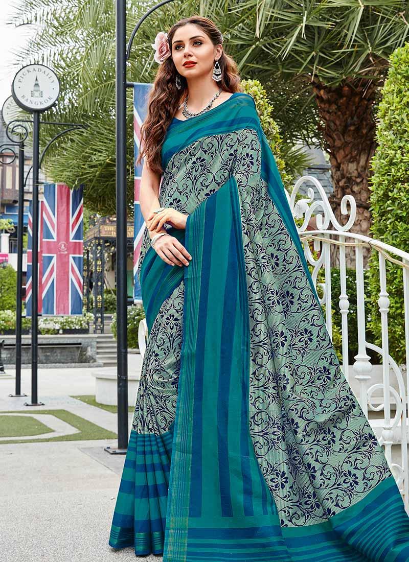 4d057b52d864c Buy Aqua Green N Blue Bhagalpuri Art Silk Saree