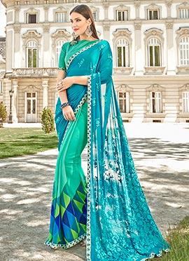 Aqua Green N Blue Half N Half Saree