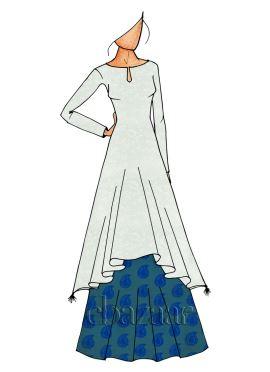 Aqua Green N Blue Long Kurti Skirt Set