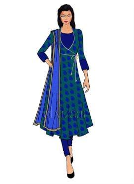 Aqua Green N Blue Makhmali Satin Angrakha Anarkali