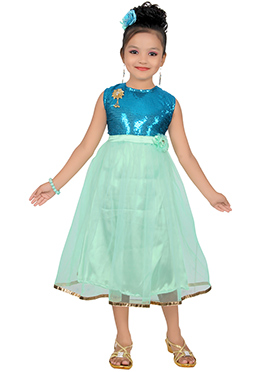 Aqua Green N Blue Net Satin Kids Gown