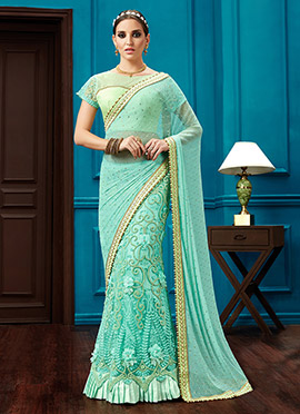 Aqua Green Net Lehenga Saree