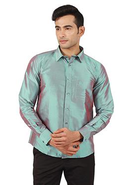 Aqua Green Pure Raw Silk Shirt