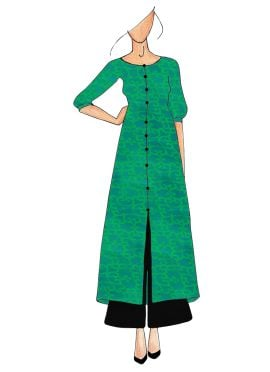 Aqua Green Straight Kurthi Palazzo Suit