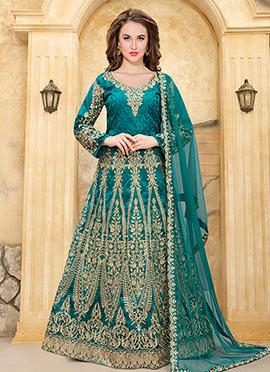 Aqua Green Taffeta Silk Abaya Style Anarkali Suit