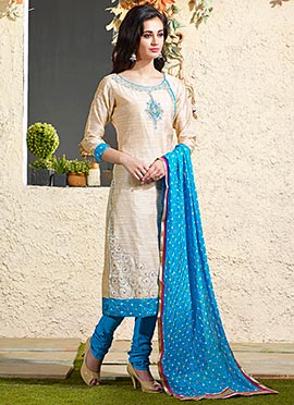 Art Chanderi Silk Cotton Beige Churidar Suit