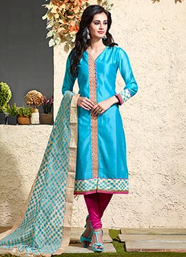 Art Chanderi Silk Cotton Blue Churidar Suit
